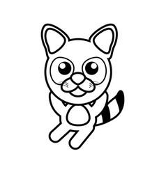 cartoon raccoon animal outline vector image vector image