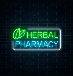 Neon herbal pharmacy sign on dark brick wall vector