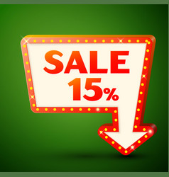 retro billboard with sale 15 percent discounts vector image