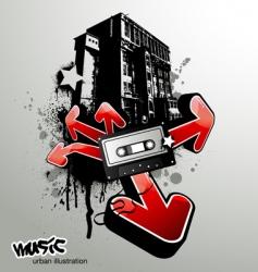 Urban music illustration vector