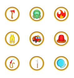 fireman icon set cartoon style vector image vector image