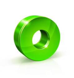 glossy green zero 0 number 3d on vector image vector image