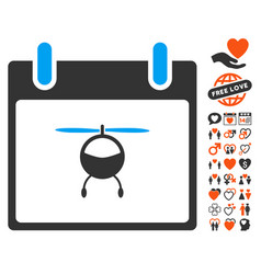helicopter calendar day icon with dating bonus vector image vector image