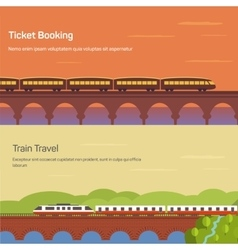 Panorama or side view of train or locomotive with vector image vector image