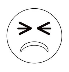 unhappy face emoticon funny thin line vector image