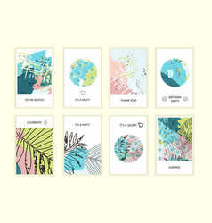 universal floral posters set vector image vector image