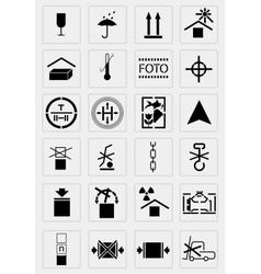 black marking cargo icons set vector image