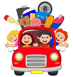 Cartoon family traveling with car vector image
