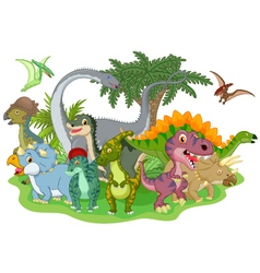 Cartoon group of dinosaur vector image vector image