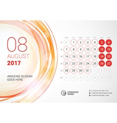 Desk Calendar for 2017 Year August Week Starts vector image