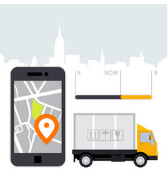 Dlivery of cargo - location tracker app and mobile vector