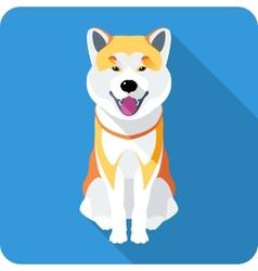 Dog akita inu japanese breed icon flat design vector