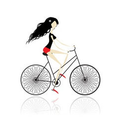 Girl cycling vector image