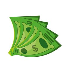 isolated green money bills vector image