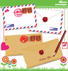 Love envelope - Valentine Scrapbook Elements vector image