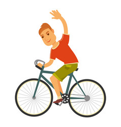 man rides bicycle with one hand isolated vector image vector image