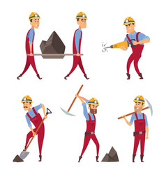set of working people miners in different action vector image vector image