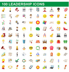 100 leadership icons set cartoon style vector