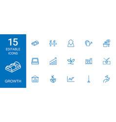 15 growth icons vector image