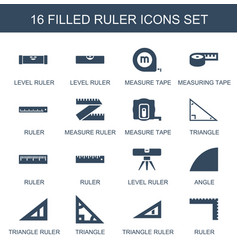 16 ruler icons vector