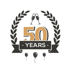 50 th anniversary retro emblem fifty years vector image