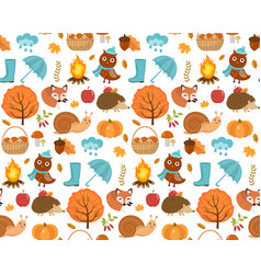 autumn seamless pattern with leaves trees vector image
