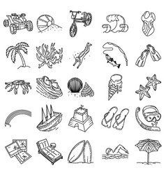 beach holiday set icon doodle hand drawn vector image
