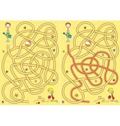 beach maze for kids vector image