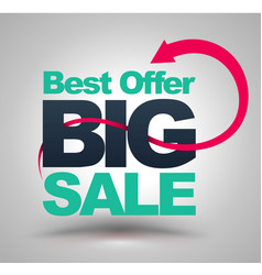 best offer big sale with red arrow vector image