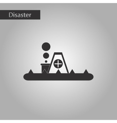 Black and white style icon flood house vector