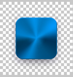 Blue app icon template with metal texture vector