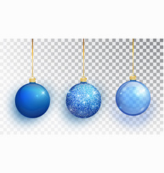 blue christmas tree toy set isolated on a vector image