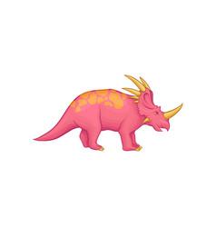 Cartoon styracosaurus dinosaur pink prehistoric vector