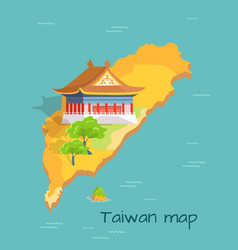 cartoon taiwan map with traditional asian building vector image