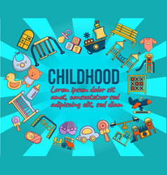 Childhood concept banner cartoon style vector