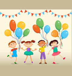children are jumping ob summer background bunner vector image