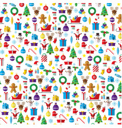 christmas pattern composed of new year icons and vector image