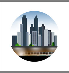 city landscape skyscrapers underground part of vector image