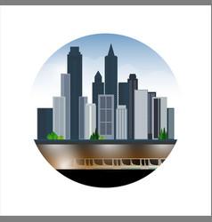 City landscape skyscrapers underground part of vector