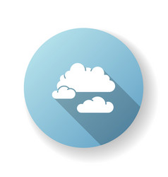 Cloudy weather blue flat design long shadow glyph vector
