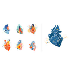 collection anatomical heart modern print design vector image