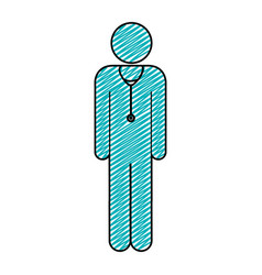 color pencil drawing of pictogram male doctor with vector image