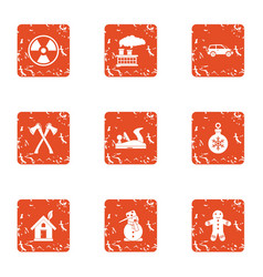 Contaminated forest icons set grunge style vector
