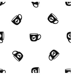 cup of coffee pattern seamless black vector image