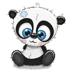 Cute cartoon panda on a white background vector