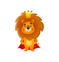 cute kid lion king with gold crown and red mantle vector image