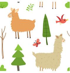 cute lama seamless pattern cartoon animals vector image