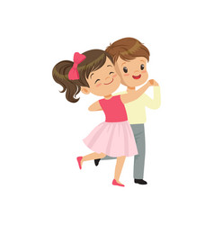 cute little boy and girl dancing vector image