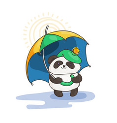cute panda with an umbrella wildlife ecology vector image