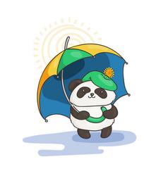 cute panda with an umbrella wildlife ecology vector image